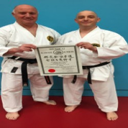 Sensei Murphy with Sensei Knighton, Chief Instructor of the SKU